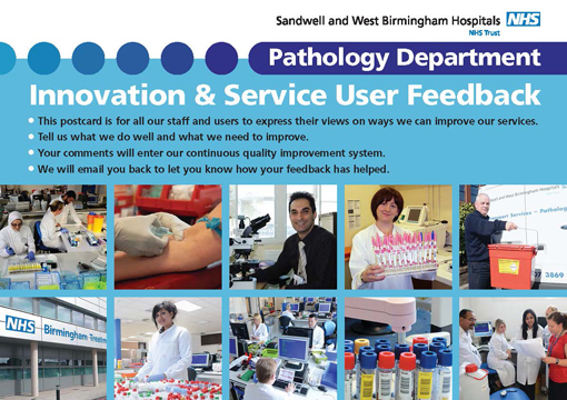 SWBH Pathology Innovation Feedback Postcard